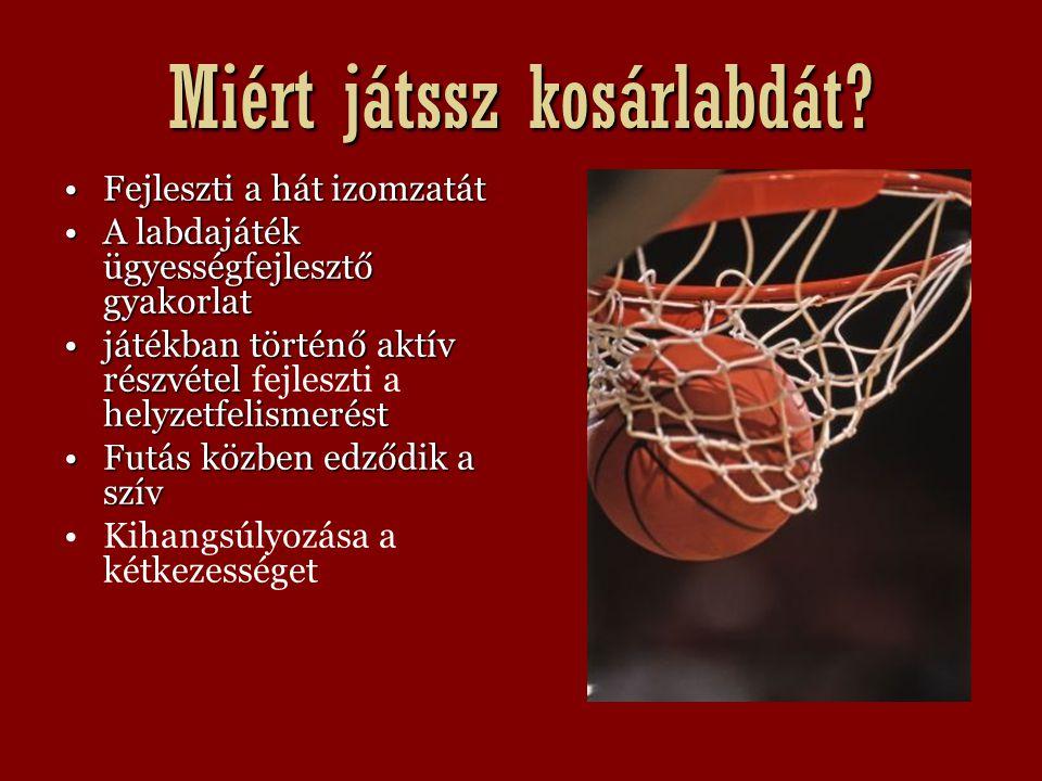 Miért játssz kosárlabdát? Fejleszti a hát izomzatát A labdajáték ügyességfejlesztő gyakorlat játékban történő aktív részvétel fejleszti a helyzetfelis