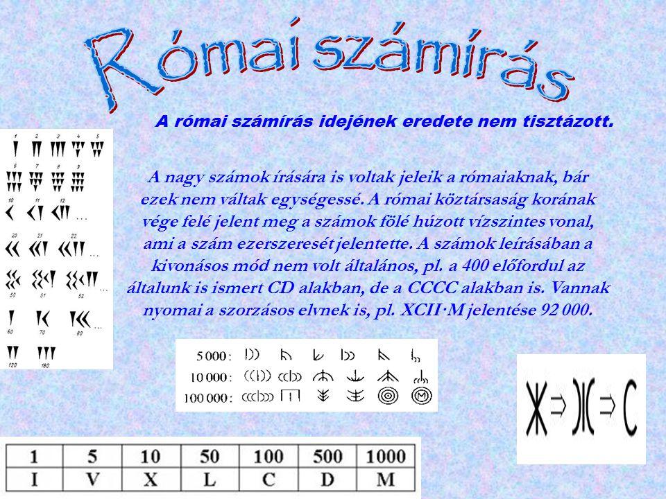 A nagy számok írására is voltak jeleik a rómaiaknak, bár ezek nem váltak egységessé. A római köztársaság korának vége felé jelent meg a számok fölé hú