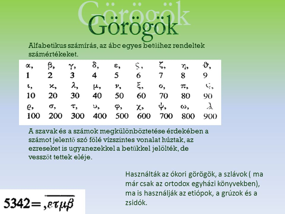 Alfabetikus számírás, az ábc egyes bet ű ihez rendeltek számértékeket. A szavak és a számok megkülönböztetése érdekében a számot jelent ő szó fölé víz