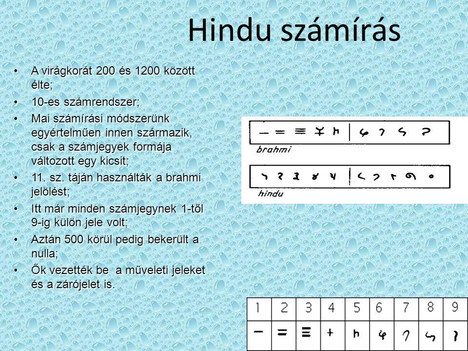 Hindu számírás A virágkorát 200 és 1200 között élte;A virágkorát 200 és 1200 között élte; 10-es számrendszer;10-es számrendszer; Mai számírási módszerünk egyértelműen innen származik, csak a számjegyek formája változott egy kicsit;Mai számírási módszerünk egyértelműen innen származik, csak a számjegyek formája változott egy kicsit; 11.