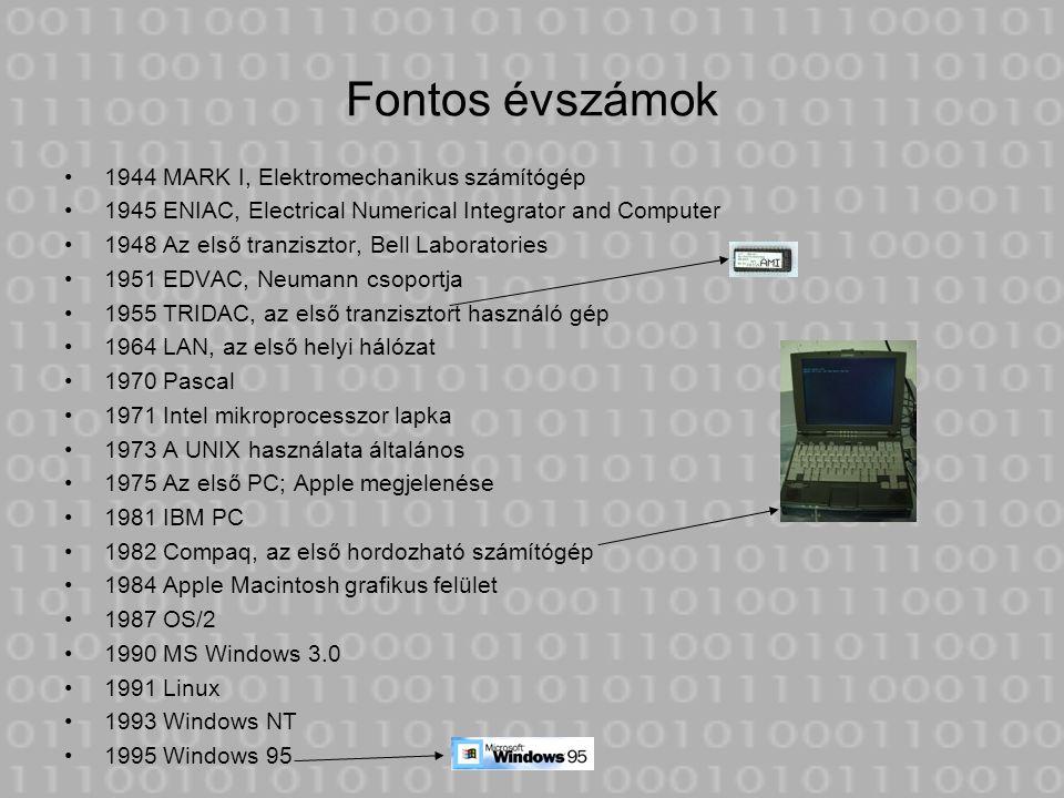 Fontos évszámok 1944 MARK I, Elektromechanikus számítógép 1945 ENIAC, Electrical Numerical Integrator and Computer 1948 Az első tranzisztor, Bell Labo