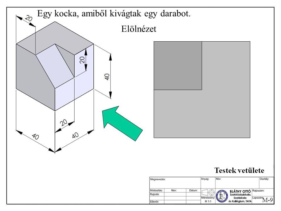 M-8 Testek vetülete Egy kocka, amiből kivágtak egy darabot. Hogyan is néz ez ki?