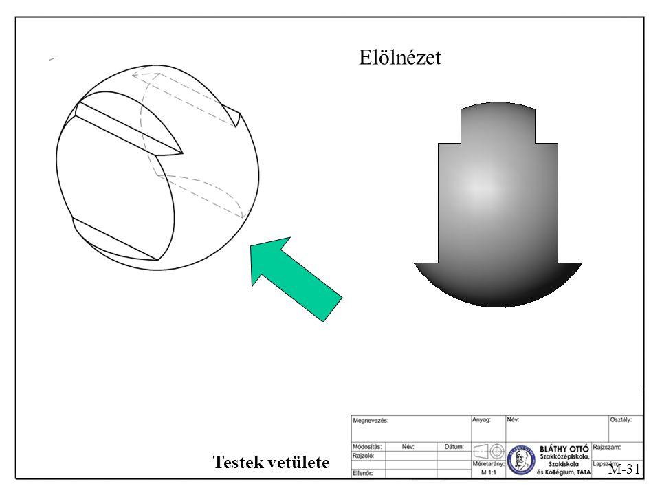 M-30 Testek vetülete Egy gömbből párhuzamos síkokkal vágjuk ki úgy, hogy az ábra szerinti rész maradjon meg!