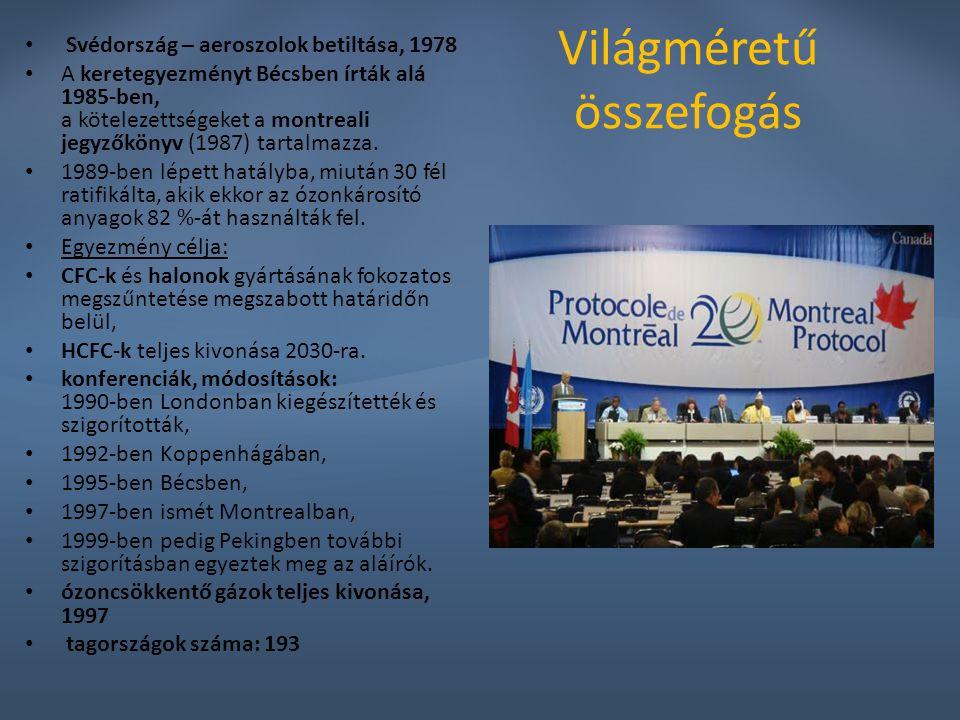 Világméretű összefogás Svédország – aeroszolok betiltása, 1978 A keretegyezményt Bécsben írták alá 1985-ben, a kötelezettségeket a montreali jegyzőkön