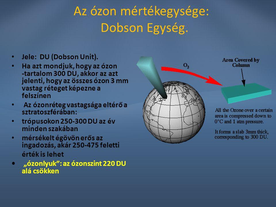 Az ózon mértékegysége: Dobson Egység. Jele: DU (Dobson Unit). Ha azt mondjuk, hogy az ózon -tartalom 300 DU, akkor az azt jelenti, hogy az összes ózon