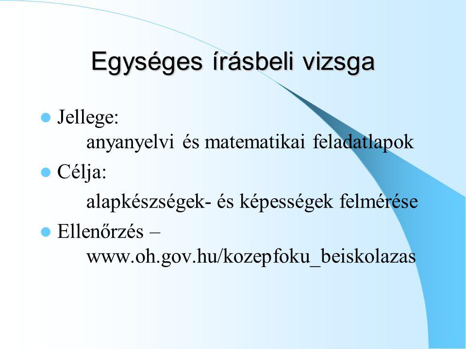 Egységes írásbeli vizsga Jellege: anyanyelvi és matematikai feladatlapok Célja: alapkészségek- és képességek felmérése Ellenőrzés – www.oh.gov.hu/kozepfoku_beiskolazas