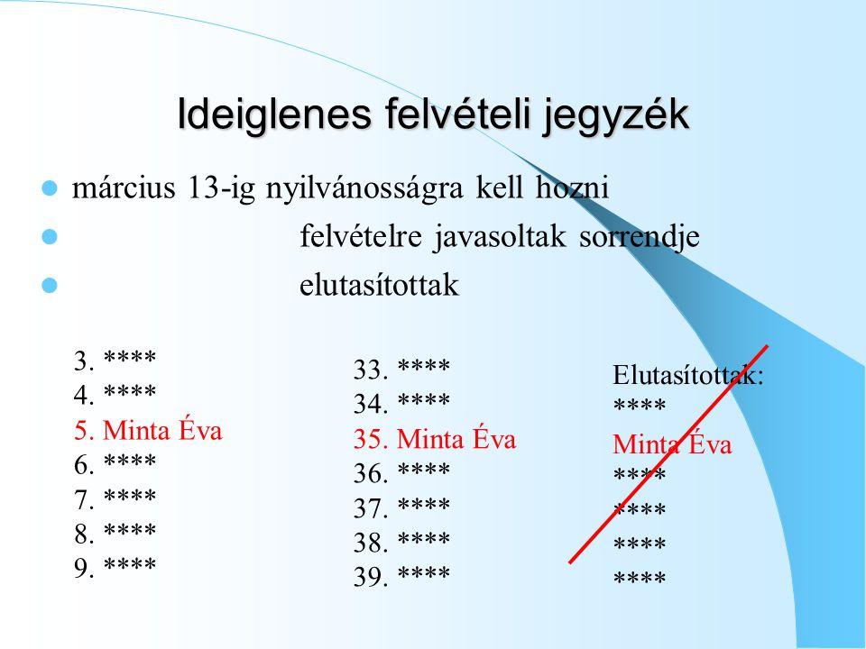 Ideiglenes felvételi jegyzék március 13-ig nyilvánosságra kell hozni felvételre javasoltak sorrendje elutasítottak 3.