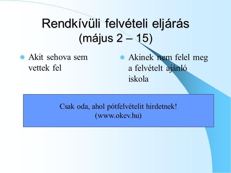 Rendkívüli felvételi eljárás (május 2 – 15) Akit sehova sem vettek fel Akinek nem felel meg a felvételt ajánló iskola Csak oda, ahol pótfelvételit hirdetnek.