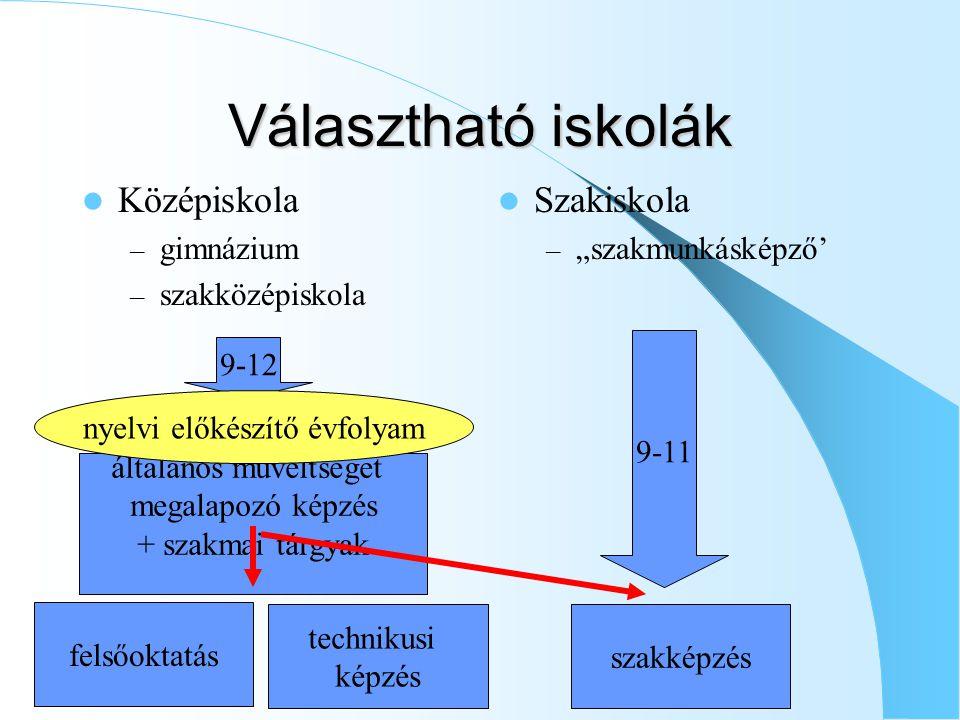 """Választható iskolák Középiskola – gimnázium – szakközépiskola Szakiskola – """"szakmunkásképző' általános műveltséget megalapozó képzés + szakmai tárgyak 9-12 9-11 nyelvi előkészítő évfolyam szakképzés felsőoktatás technikusi képzés"""