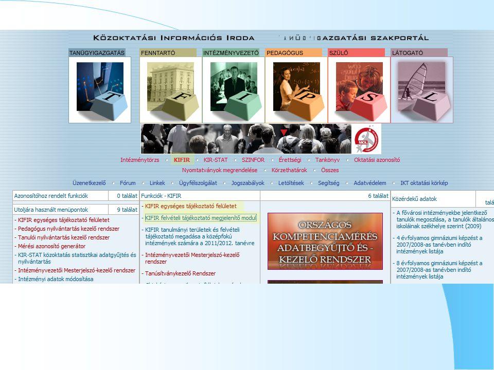 Tanulói adatlapokIskolák felvételi rangsora