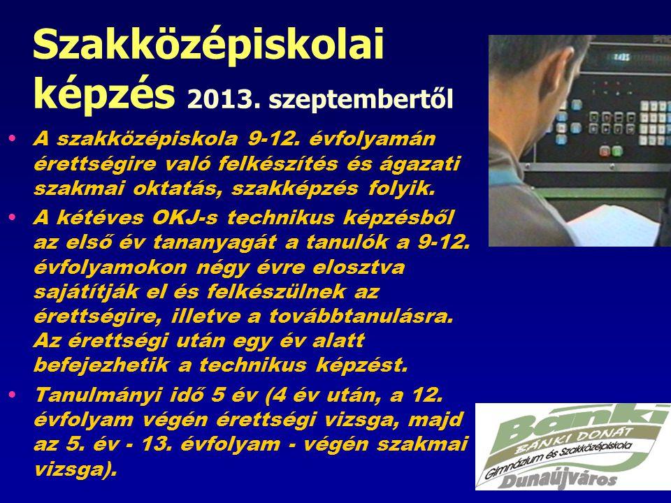 Szakközépiskolai képzés 2013.szeptembertől A szakközépiskola 9-12.