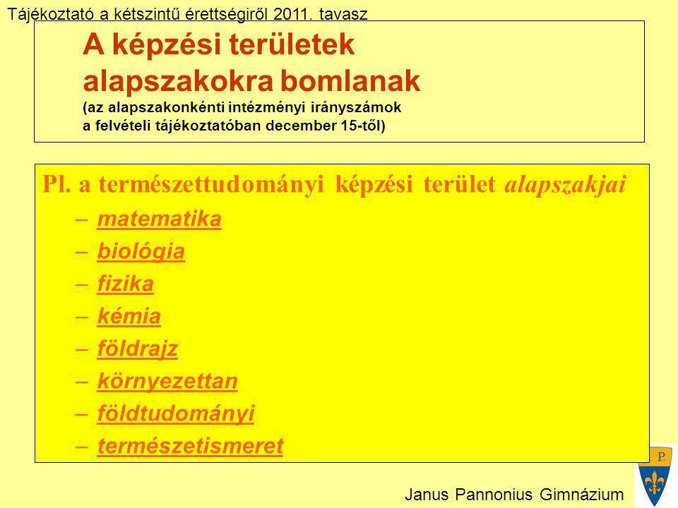 Tájékoztató a kétszintű érettségiről 2011. tavasz Janus Pannonius Gimnázium A képzési területek alapszakokra bomlanak (az alapszakonkénti intézményi i