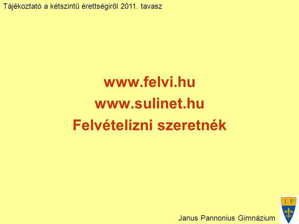Tájékoztató a kétszintű érettségiről 2011. tavasz Janus Pannonius Gimnázium www.felvi.hu www.sulinet.hu Felvételizni szeretnék
