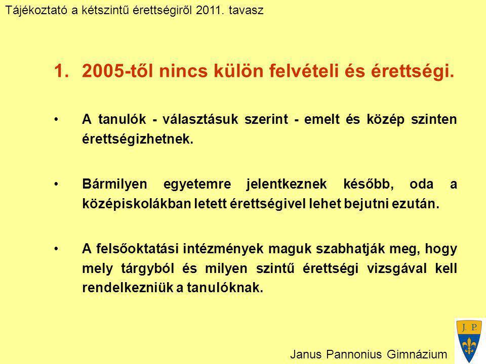 Tájékoztató a kétszintű érettségiről 2011. tavasz Janus Pannonius Gimnázium 1.2005-től nincs külön felvételi és érettségi. A tanulók - választásuk sze
