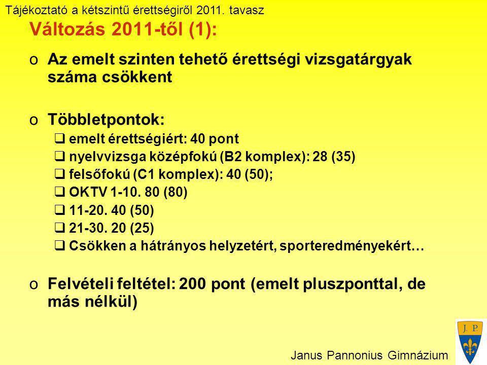 Tájékoztató a kétszintű érettségiről 2011. tavasz Janus Pannonius Gimnázium Változás 2011-től (1): oAz emelt szinten tehető érettségi vizsgatárgyak sz