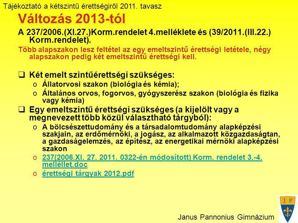 Tájékoztató a kétszintű érettségiről 2011. tavasz Janus Pannonius Gimnázium Változás 2013-tól A 237/2006.(XI.27.)Korm.rendelet 4.melléklete és (39/201