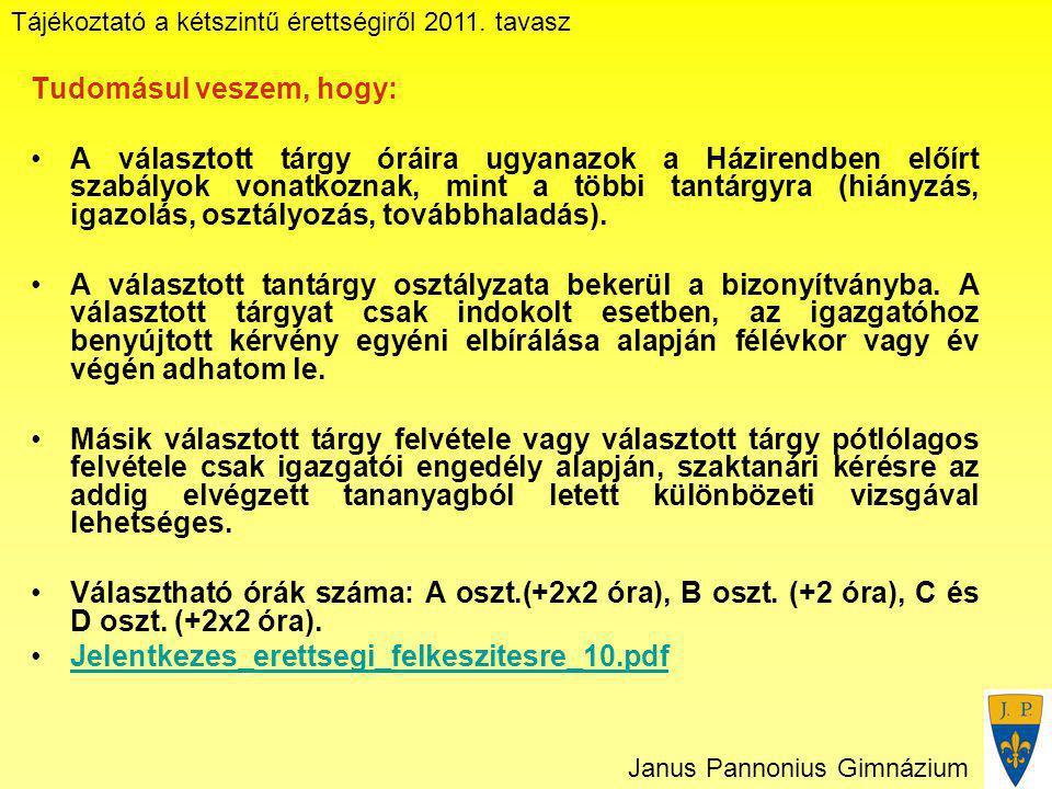 Tájékoztató a kétszintű érettségiről 2011. tavasz Janus Pannonius Gimnázium Tudomásul veszem, hogy: A választott tárgy óráira ugyanazok a Házirendben