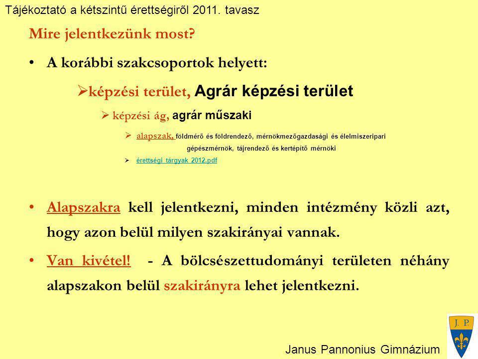 Tájékoztató a kétszintű érettségiről 2011. tavasz Janus Pannonius Gimnázium Mire jelentkezünk most? A korábbi szakcsoportok helyett:  képzési terület