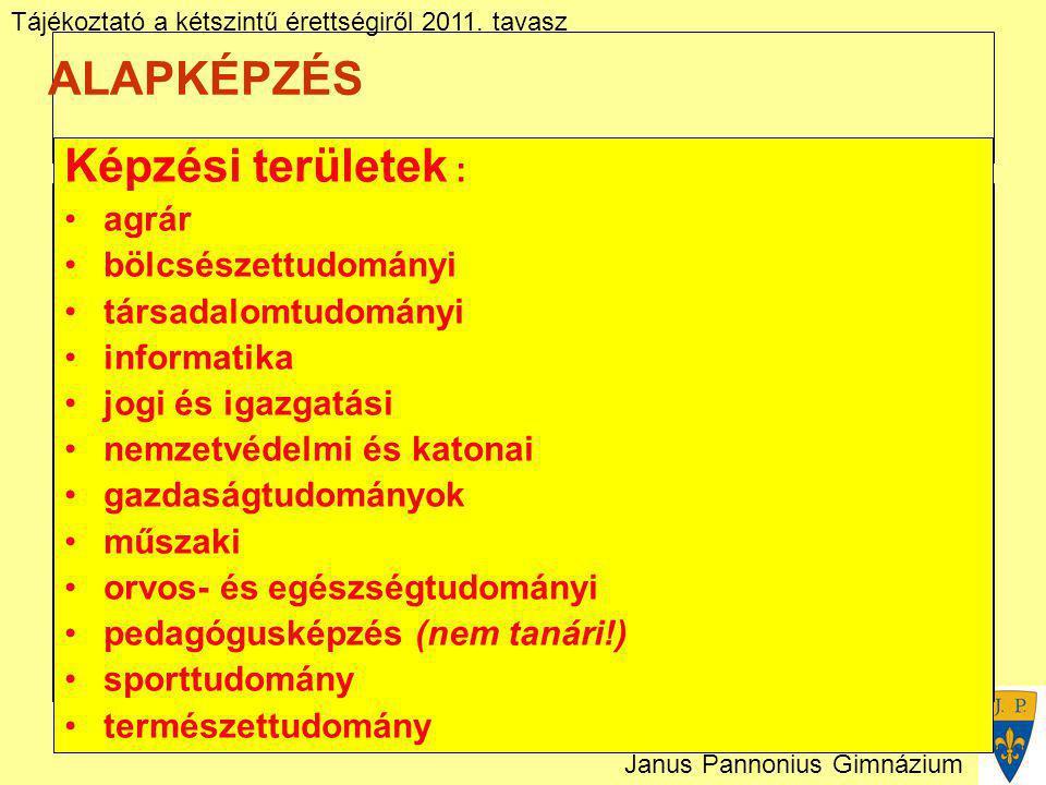 Tájékoztató a kétszintű érettségiről 2011. tavasz Janus Pannonius Gimnázium ALAPKÉPZÉS Képzési területek : agrár bölcsészettudományi társadalomtudomán