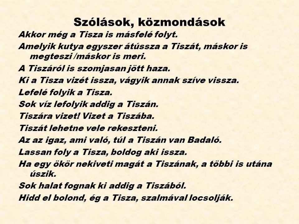 Szólások, közmondások Akkor még a Tisza is másfelé folyt.