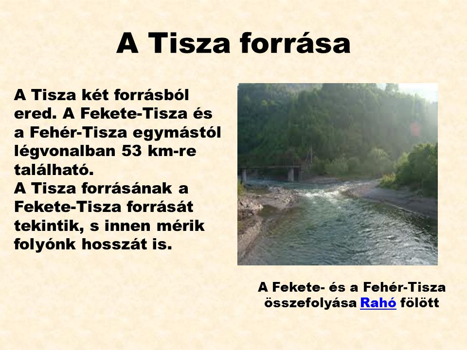 A Tisza forrása A Tisza két forrásból ered. A Fekete-Tisza és a Fehér-Tisza egymástól légvonalban 53 km-re található. A Tisza forrásának a Fekete-Tisz