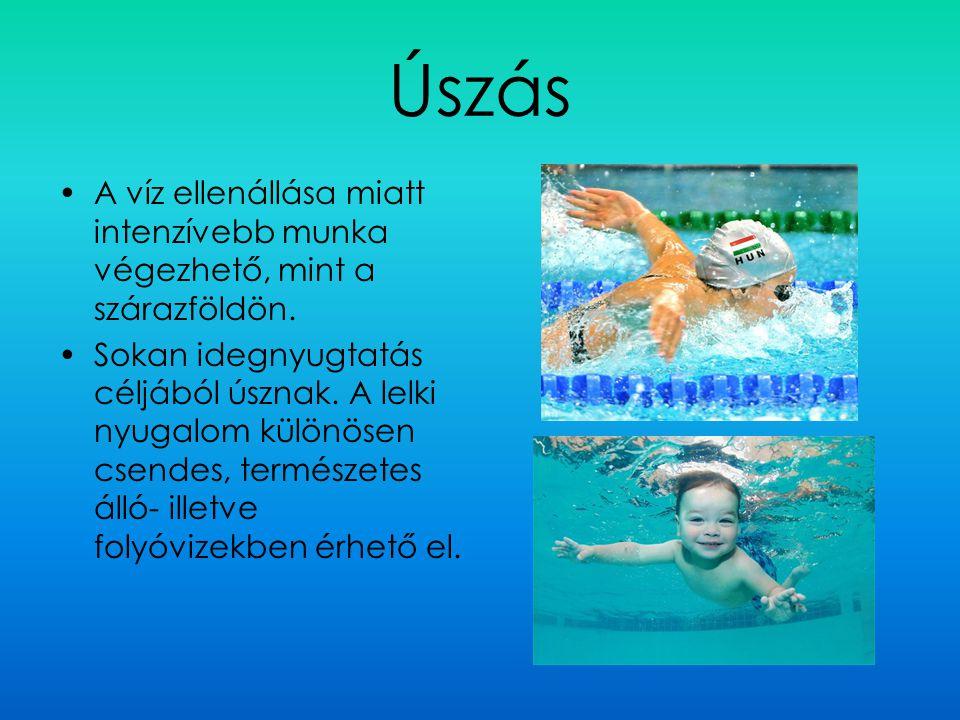 Úszás A víz ellenállása miatt intenzívebb munka végezhető, mint a szárazföldön. Sokan idegnyugtatás céljából úsznak. A lelki nyugalom különösen csende