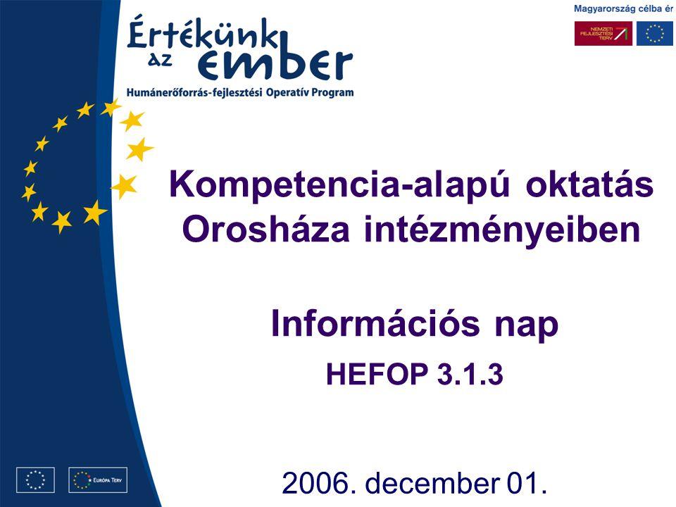 Kompetencia-alapú oktatás Orosháza intézményeiben 2006. december 01. Információs nap HEFOP 3.1.3