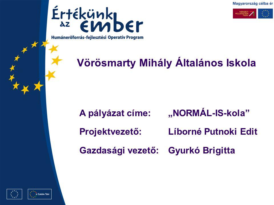 """A pályázat címe:""""NORMÁL-IS-kola Projektvezető:Líborné Putnoki Edit Gazdasági vezető:Gyurkó Brigitta"""