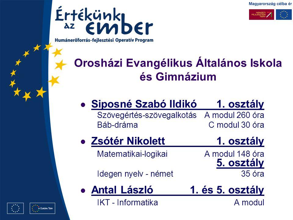 Orosházi Evangélikus Általános Iskola és Gimnázium Siposné Szabó Ildikó1.