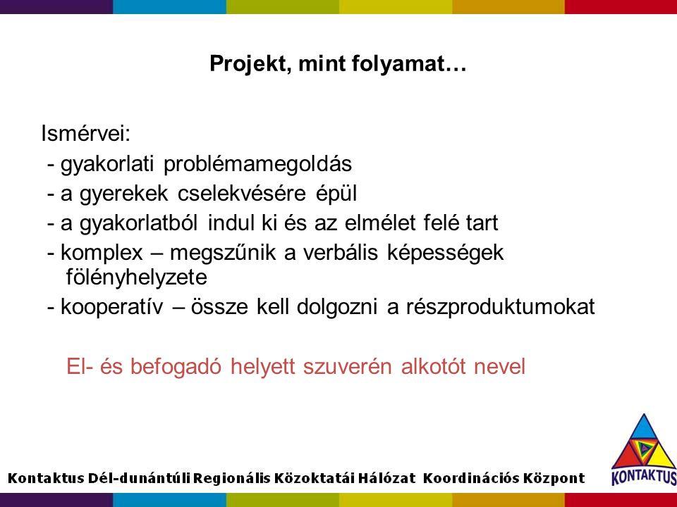 Projekt, mint folyamat… Ismérvei: - gyakorlati problémamegoldás - a gyerekek cselekvésére épül - a gyakorlatból indul ki és az elmélet felé tart - kom