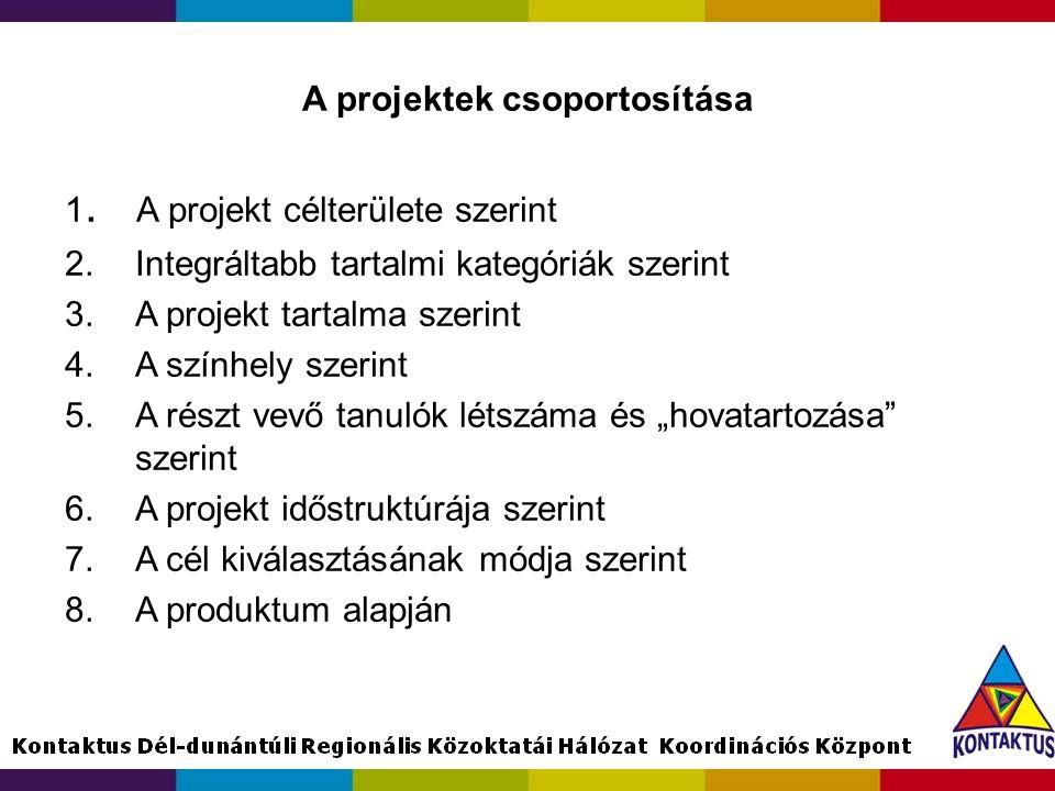 A projektek csoportosítása 1. A projekt célterülete szerint 2.Integráltabb tartalmi kategóriák szerint 3.A projekt tartalma szerint 4.A színhely szeri