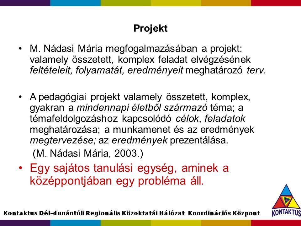 Projekt M. Nádasi Mária megfogalmazásában a projekt: valamely összetett, komplex feladat elvégzésének feltételeit, folyamatát, eredményeit meghatározó