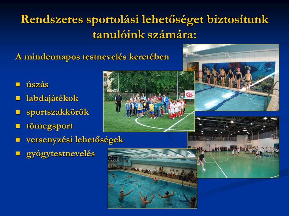 Rendszeres sportolási lehetőséget biztosítunk tanulóink számára: A mindennapos testnevelés keretében úszás labdajátékok sportszakkörök tömegsport vers