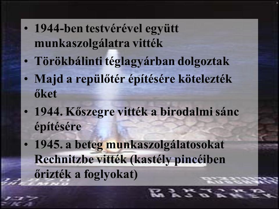 1944-ben testvérével együtt munkaszolgálatra vitték Törökbálinti téglagyárban dolgoztak Majd a repülőtér építésére kötelezték őket 1944.