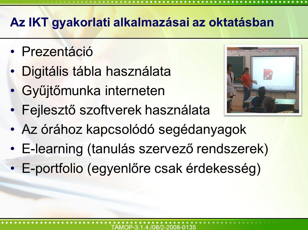 Az IKT gyakorlati alkalmazásai az oktatásban Prezentáció Digitális tábla használata Gyűjtőmunka interneten Fejlesztő szoftverek használata Az órához k