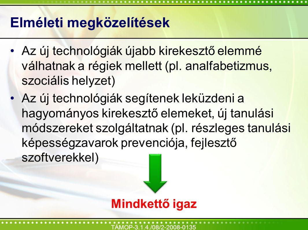 Elméleti megközelítések Az új technológiák újabb kirekesztő elemmé válhatnak a régiek mellett (pl. analfabetizmus, szociális helyzet) Az új technológi