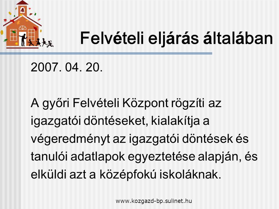www.kozgazd-bp.sulinet.hu Felv é teli elj á r á s á ltal á ban 2007. 04. 20. A győri Felv é teli K ö zpont rögzíti az igazgat ó i d ö nt é seket, kial