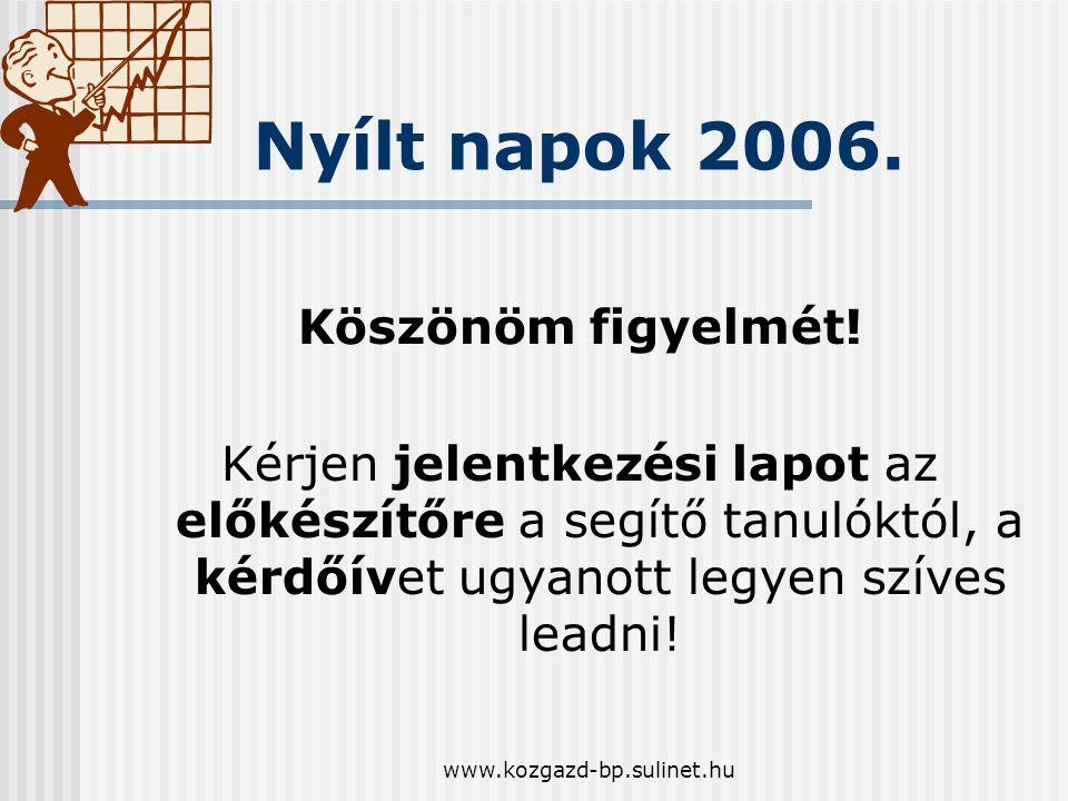 www.kozgazd-bp.sulinet.hu Nyílt napok 2006. Köszönöm figyelmét! Kérjen jelentkezési lapot az előkészítőre a segítő tanulóktól, a kérdőívet ugyanott le