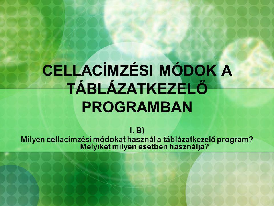 CELLACÍMZÉSI MÓDOK A TÁBLÁZATKEZELŐ PROGRAMBAN I. B) Milyen cellacímzési módokat használ a táblázatkezelő program? Melyiket milyen esetben használja?