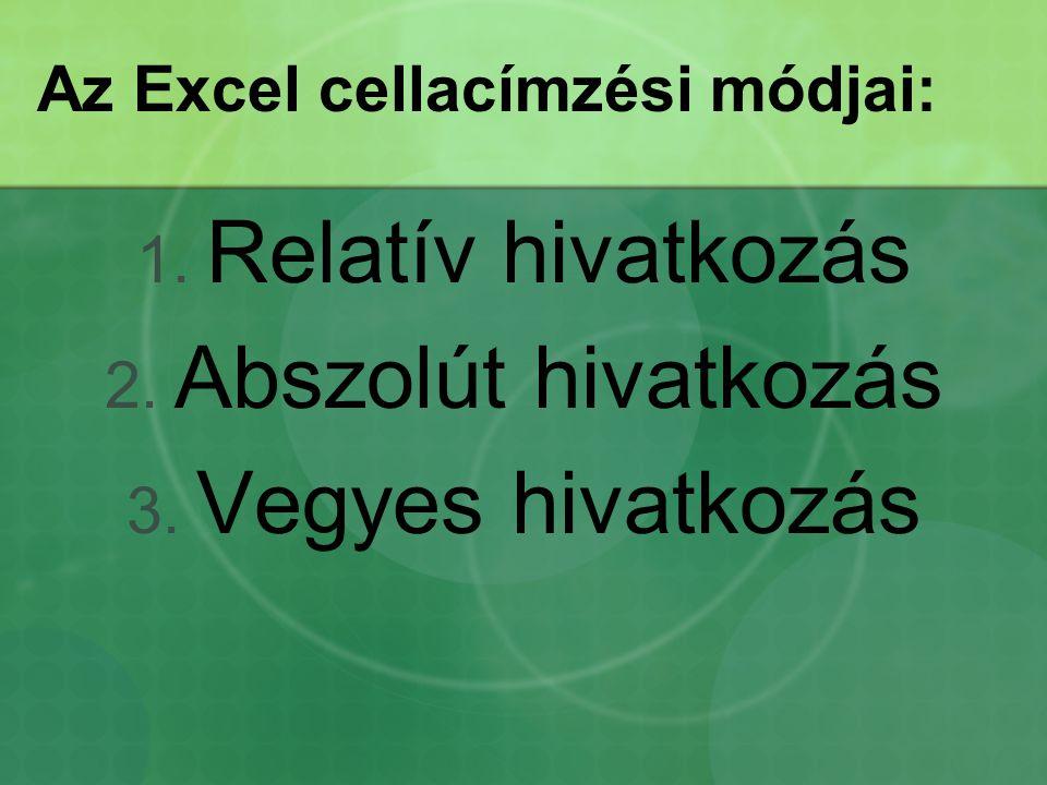Az Excel cellacímzési módjai: 1. Relatív hivatkozás 2. Abszolút hivatkozás 3. Vegyes hivatkozás
