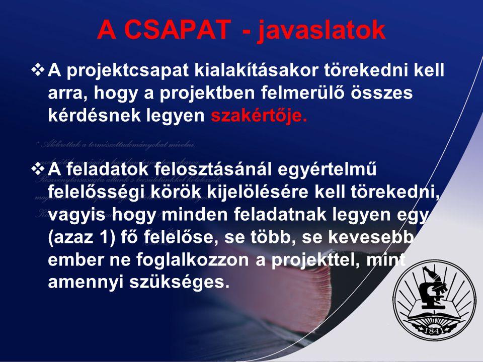 A CSAPAT - javaslatok  A projektcsapat kialakításakor törekedni kell arra, hogy a projektben felmerülő összes kérdésnek legyen szakértője.  A felada