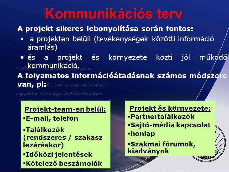 A projekt sikeres lebonyolítása során fontos: a projekten belüli (tevékenységek közötti információ áramlás) és a projekt és környezete közti jól működ
