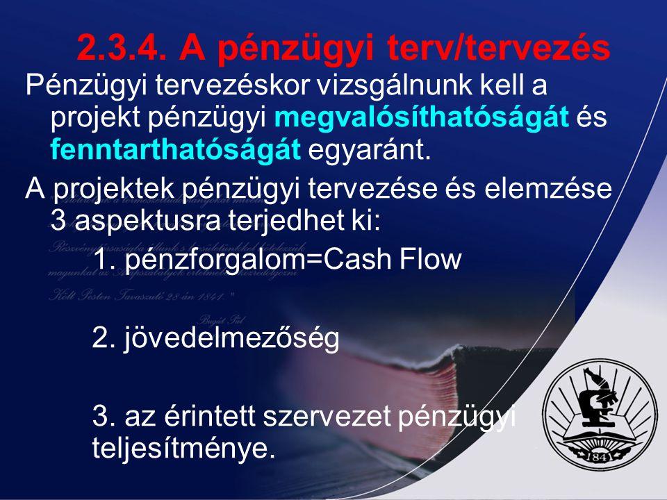 2.3.4. A pénzügyi terv/tervezés Pénzügyi tervezéskor vizsgálnunk kell a projekt pénzügyi megvalósíthatóságát és fenntarthatóságát egyaránt. A projekte
