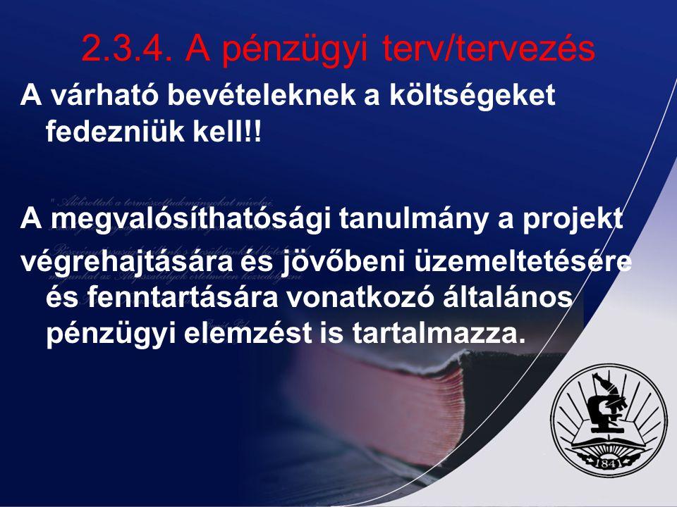 2.3.4. A pénzügyi terv/tervezés A várható bevételeknek a költségeket fedezniük kell!! A megvalósíthatósági tanulmány a projekt végrehajtására és jövőb