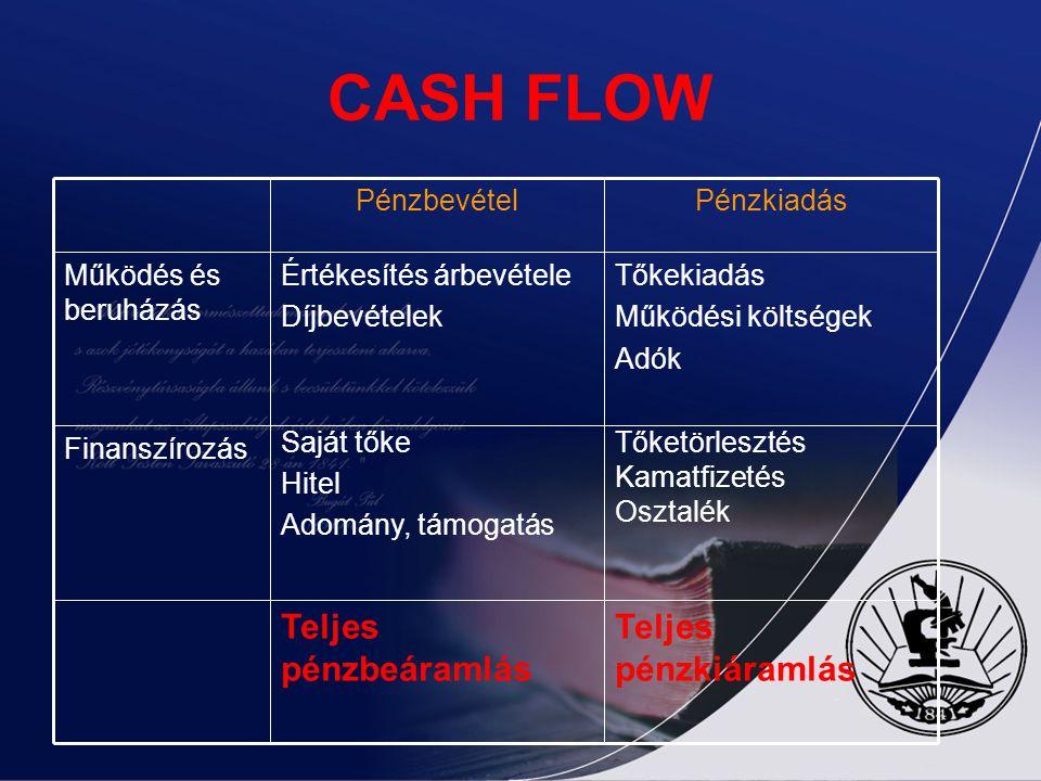 CASH FLOW Teljes pénzkiáramlás Teljes pénzbeáramlás Tőketörlesztés Kamatfizetés Osztalék Saját tőke Hitel Adomány, támogatás Finanszírozás Tőkekiadás