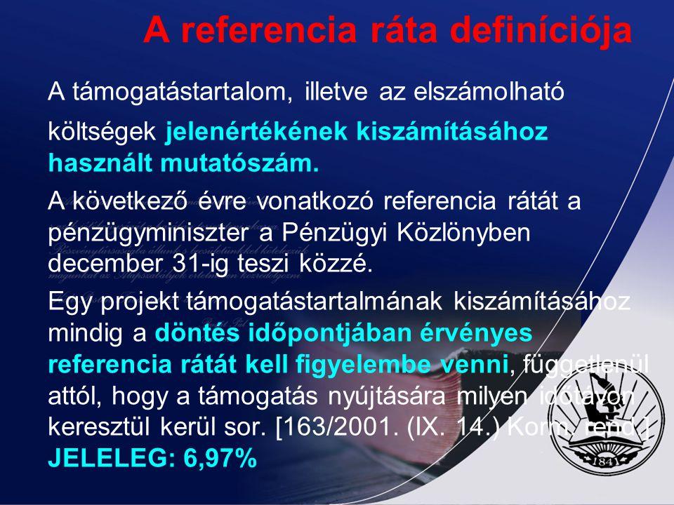 A referencia ráta definíciója A támogatástartalom, illetve az elszámolható költségek jelenértékének kiszámításához használt mutatószám. A következő év