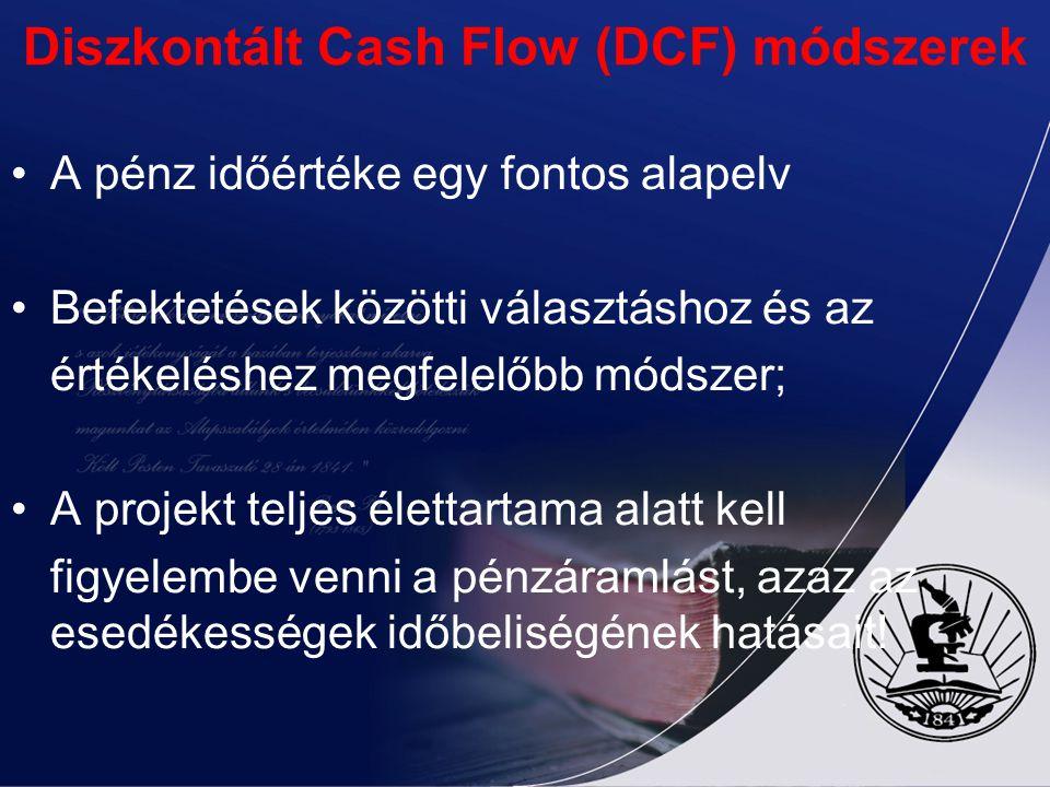 Diszkontált Cash Flow (DCF) módszerek A pénz időértéke egy fontos alapelv Befektetések közötti választáshoz és az értékeléshez megfelelőbb módszer; A