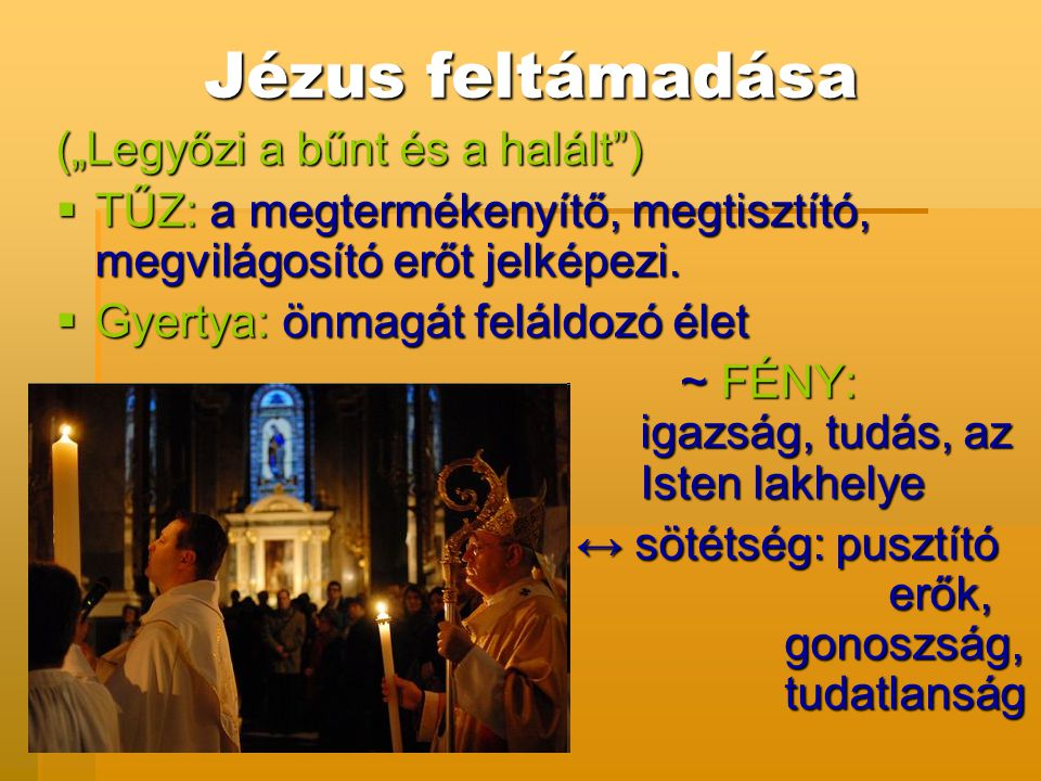 """Jézus feltámadása (""""Legyőzi a bűnt és a halált"""")  TŰZ: a megtermékenyítő, megtisztító, megvilágosító erőt jelképezi.  Gyertya: önmagát feláldozó éle"""