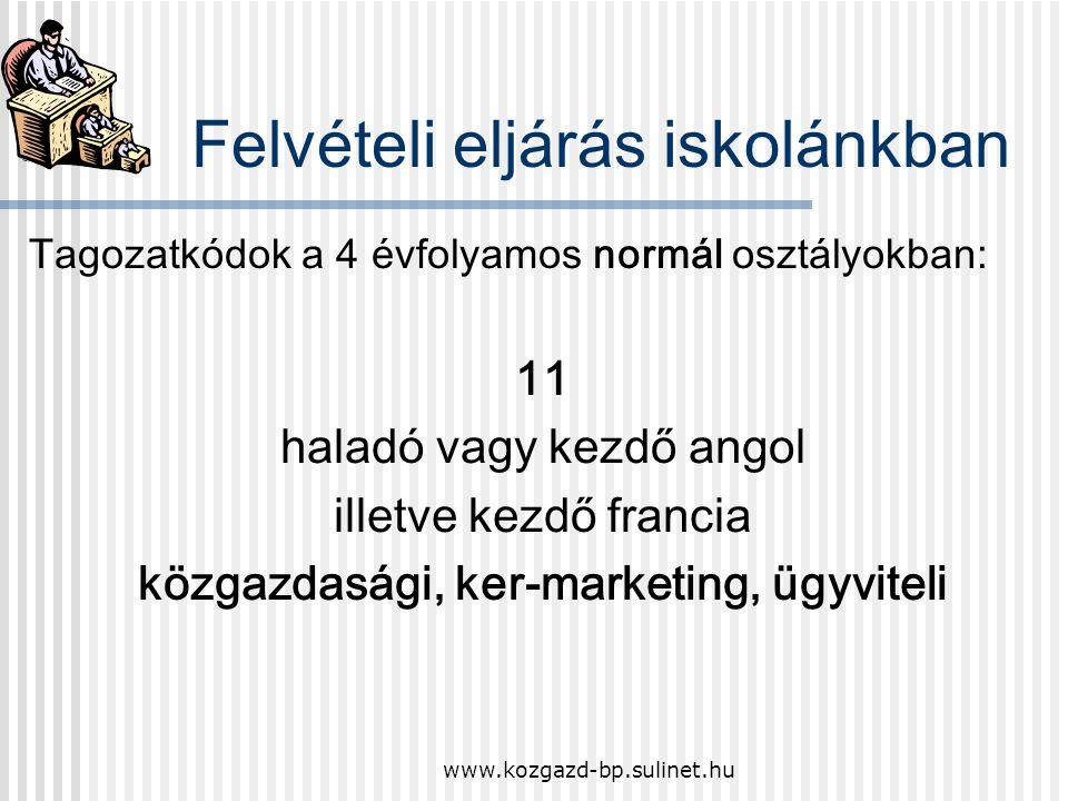 www.kozgazd-bp.sulinet.hu Tagozatkódok a nyelvi előkészítő osztályokban: 01 haladó vagy kezdő angol informatika, közgazdasági 02 haladó német vagy ang