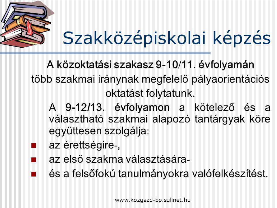 www.kozgazd-bp.sulinet.hu Nyílt napok 2008/2009. szakközépiskolai képzés felvételi eljárás általában felvételi eljárás iskolánkban
